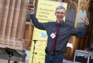 Song leader Stephen Deazley at the Dumfries Come and Sing Event, October 2019