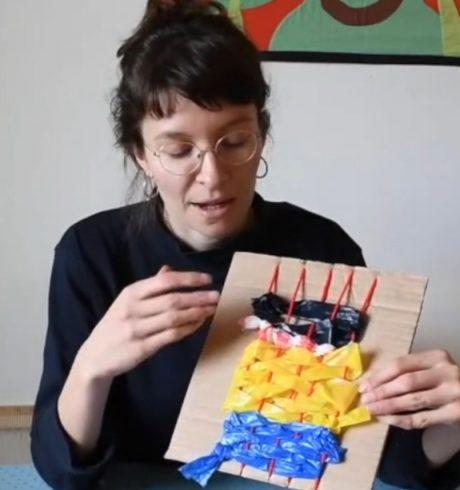 A screenshot of Flo Dwyer creating a home-made loom and weave, Luminate@Home