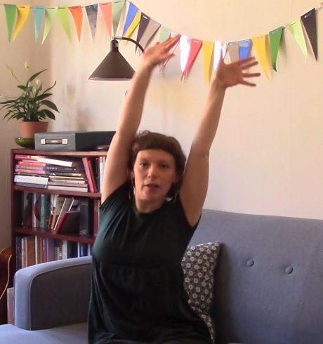 A screenshot of Tashi Gore and Laura Bradshaw's Intergenerational Dance Party, Luminate@Home