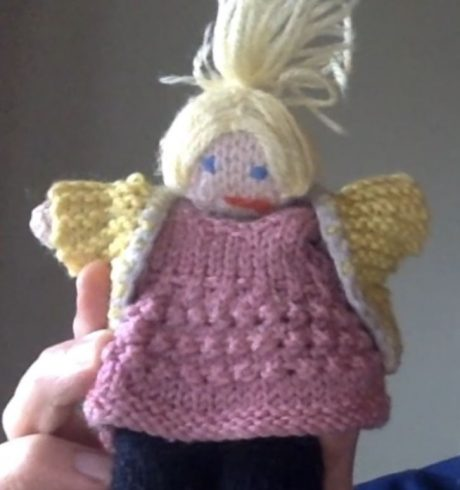 A hand-knitted doll, part of Living Archive, Luminate@Home