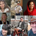 A photo collage of older artists selected for Space/Time 2021